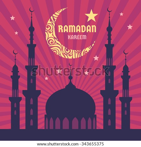 Ramadan Kareem - vector concept illustration. Crescent moon, star, mosque, minarets. Mubarak greeting card. Design elements. - stock vector