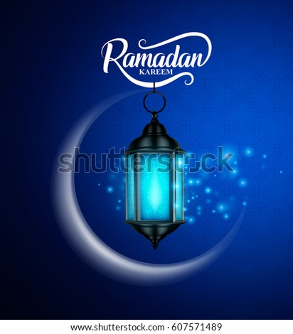 Ramadan kareem vector greetings design with lantern or fanoos hanging in crescent moon with lights in blue pattern background. Vector illustration.