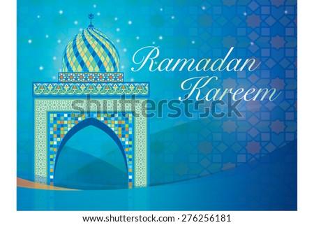 Ramadan Kareem Vector Mosque Muslim Graphics with Colorful Geometrical Ornament Mosaic - stock vector