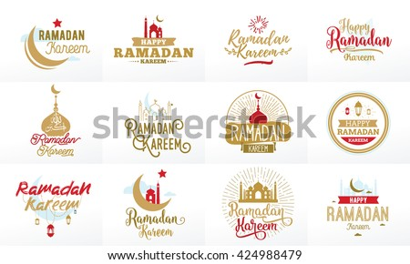 Ramadan kareem. Vector typographic design set with ramadan calligraphy and lettering. Usable for ramadan greeting cards, print and clothing. - stock vector