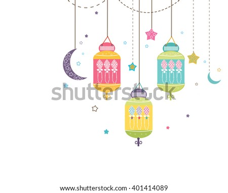 Ramadan Kareem with colorful Lamps, Crescents and Stars. Traditional lantern of Ramadan vector background - stock vector