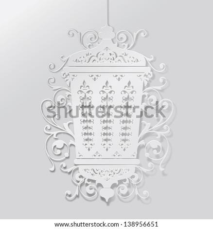 Ramadan lantern- paper craft style vector - stock vector