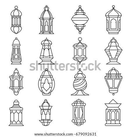 fanoos ramadan coloring pages - set 24 ramadan lanterns silhouettes vector stock vector