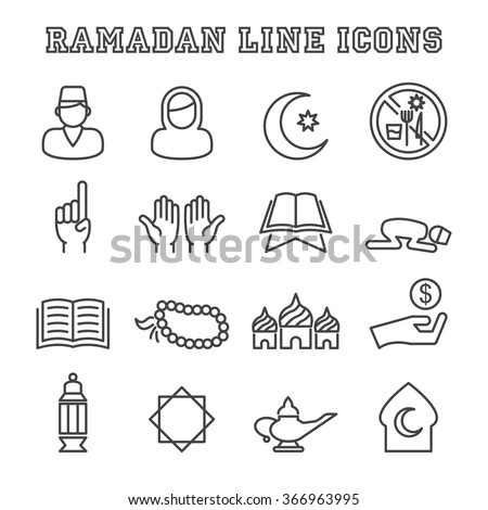 ramadan line icons, mono vector symbols - stock vector