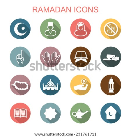 ramadan long shadow icons, flat vector symbols - stock vector