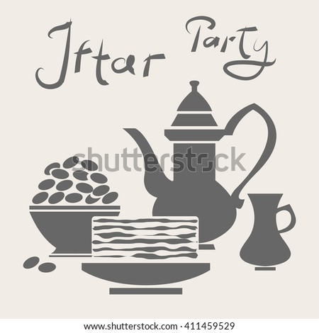 Ramadan meal. Iftar (muslim breaking fast) food for Eid (holyday) celebration. Date fruit plate, oriental tableware. - stock vector
