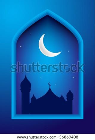 Ramadan night with mosque & moon on background - stock vector