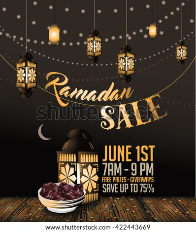 Ramadan sale background with copy space. EPS 10 vector. - stock vector