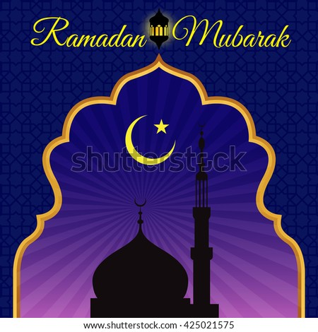 Ramadon Mubarak - Gold arab window art and masjid at night vector design - stock vector