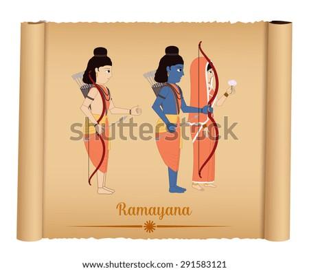 Ramayana - Shri Rama with Sita and Laxmana - stock vector