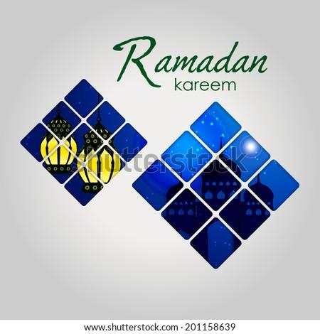 Ramazan Kareem Greeting card / Mosque and intricate arabic lamp Ramazan Kareem on  creative blue background / paper craft style - stock vector