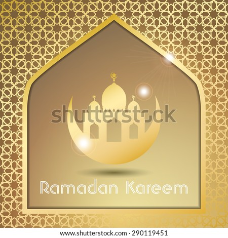 Ramazan Kareem Greeting card / Mosque with stars Islamic pattern Background  - stock vector