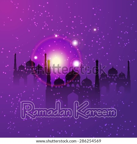 Ramazan Kareem Greeting card / Mosque with stars Ramazan Kareem on creative purple background  - stock vector