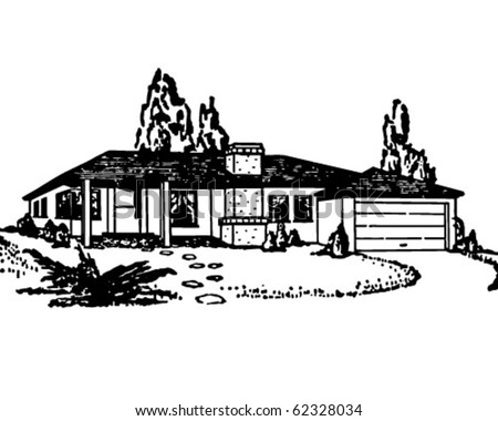 Rancher Bungalow - Retro Clipart Illustration - stock vector