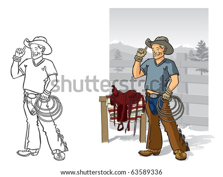 Rancher Vector illustration of a skilled horseman and his tools of the trade. Fully editable layers included. - stock vector
