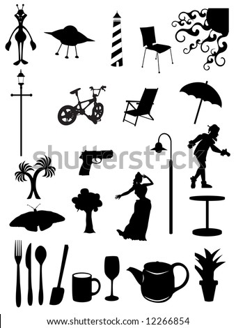 Random batch of silhouettes woman, light, chair, scenes, trees, jester, umbrella, utensils, vector - stock vector
