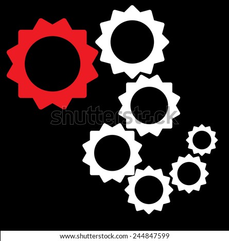 random collection of cogs - interlaced, teamwork, integral components - vector - stock vector