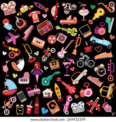 Random objects on black background. Vector illustration. - stock vector
