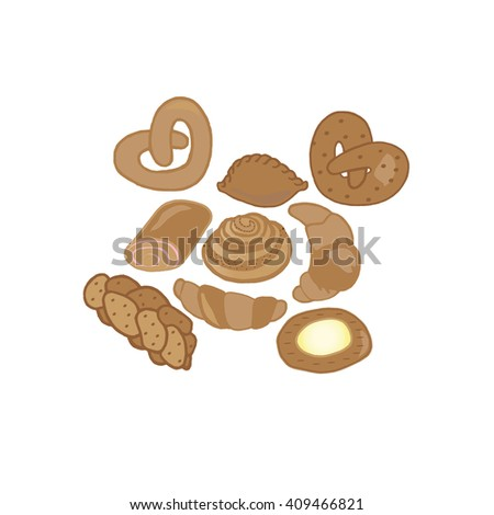 Range of products: bread - rye bread, cheesecake, wheat bread, whole wheat bread, sliced bread, French baguette, croissant. Vector illustration isolated on white. - stock vector