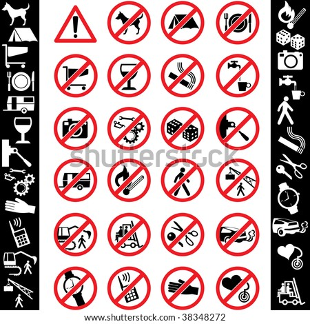range of prohibition signs. Labeling. - stock vector