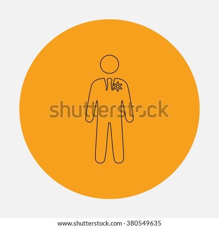 ranger Outline vector icon on orange circle. Flat line symbol pictogram  - stock vector