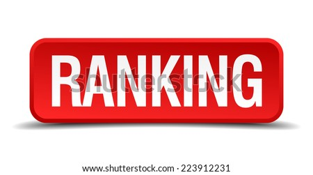 Ranking red 3d square button isolated on white - stock vector