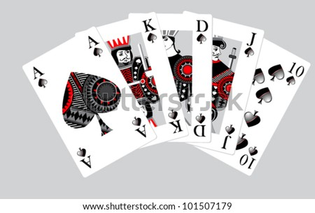 ranking spades - stock vector