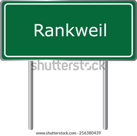 Rankweil, Austria, road sign green vector illustration, road table - stock vector