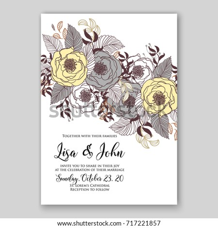 Ranunculus wedding invitation vector template stock vector 717221857 ranunculus wedding invitation vector template stopboris Images