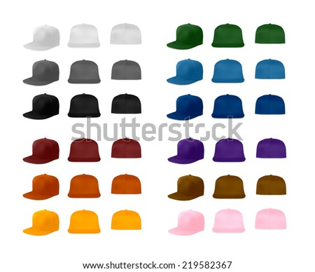 Rap Cap Template Set Vector Eps 10 Stock-Vektorgrafik 219582367 ...