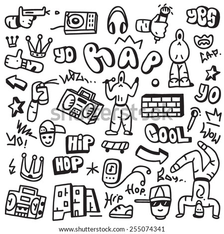 rap,hip hop - doodles - stock vector