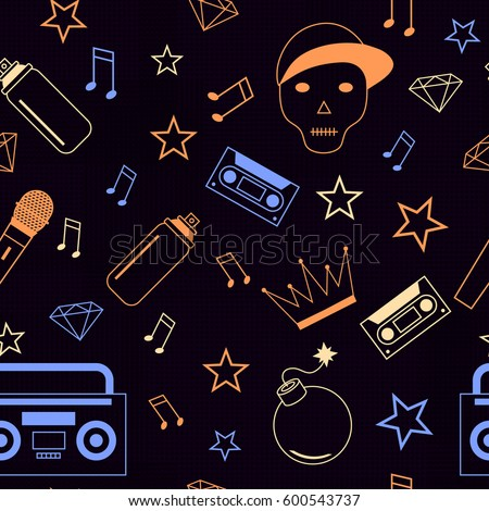 Rap Hip Hop Music Seamless Background With Skull Cool Pattern For Boy