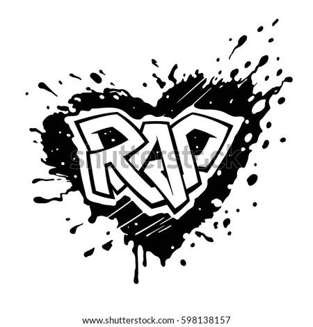 rap music graffiti logo on black stock vector royalty free
