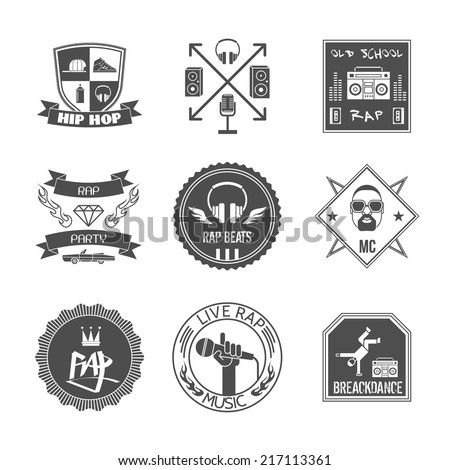 Rap music hip hop party beats label set isolated vector illustration - stock vector