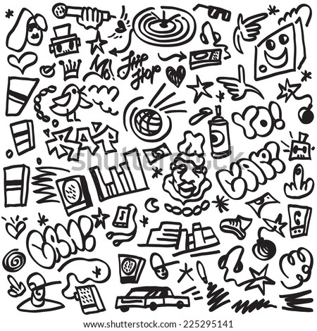 rap music , hip hop symbols - doodles set