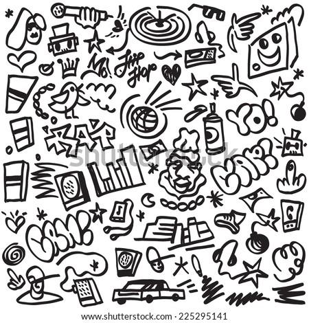 rap music , hip hop symbols - doodles set - stock vector