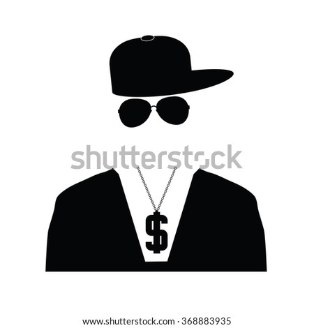 rap singer illustration in black color - stock vector