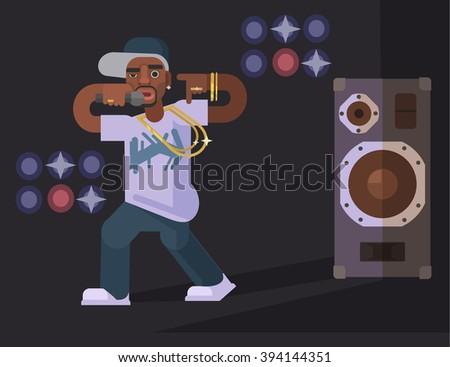 Rap singer. Vector flat illustration - stock vector