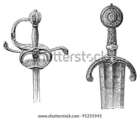 Rapier and sword / illustration from Meyers Konversations-Lexikon 1897 - stock vector