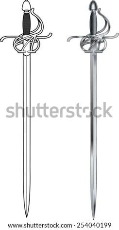 rapier sword - stock vector