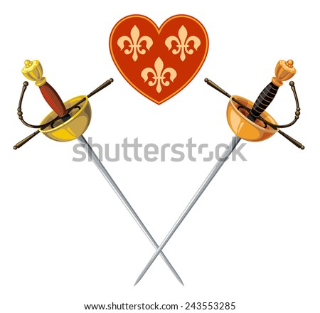rapiers and heart isolated on a white background - stock vector