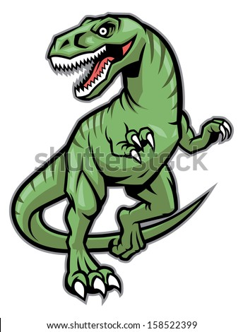 raptor dinosaur mascot - stock vector