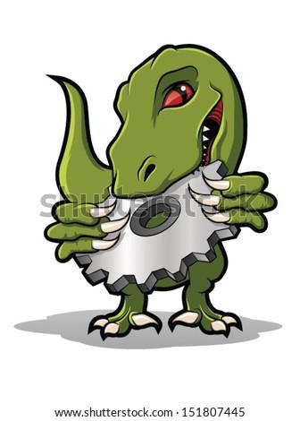 Raptor Mascot Biting Metal Gear/Raptor Cog Cartoon - stock vector