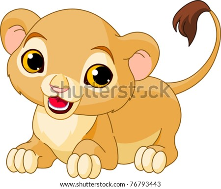 Raring cute Lion Cub of a white background - stock vector