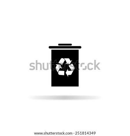 rash bin icon - black vector illustration