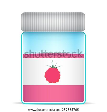 raspberries in a glass jar - stock vector
