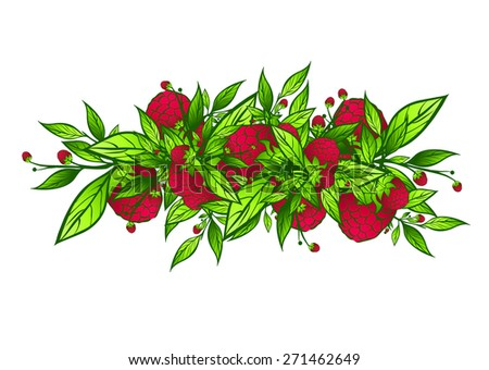 Raspberry Border Design With Green Leaves Over White Background - stock vector