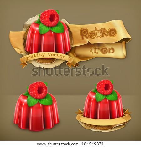 Raspberry jelly, retro vector icon - stock vector