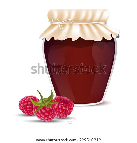 Raspberry marmalade in a jar and dewy fresh raspberries - isolated on white background. Vector illustration. - stock vector