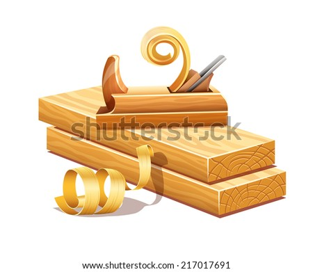 Rasped wooden boards by planer tool and filings sawdusts. Eps10 vector illustration. Isolated on white background - stock vector
